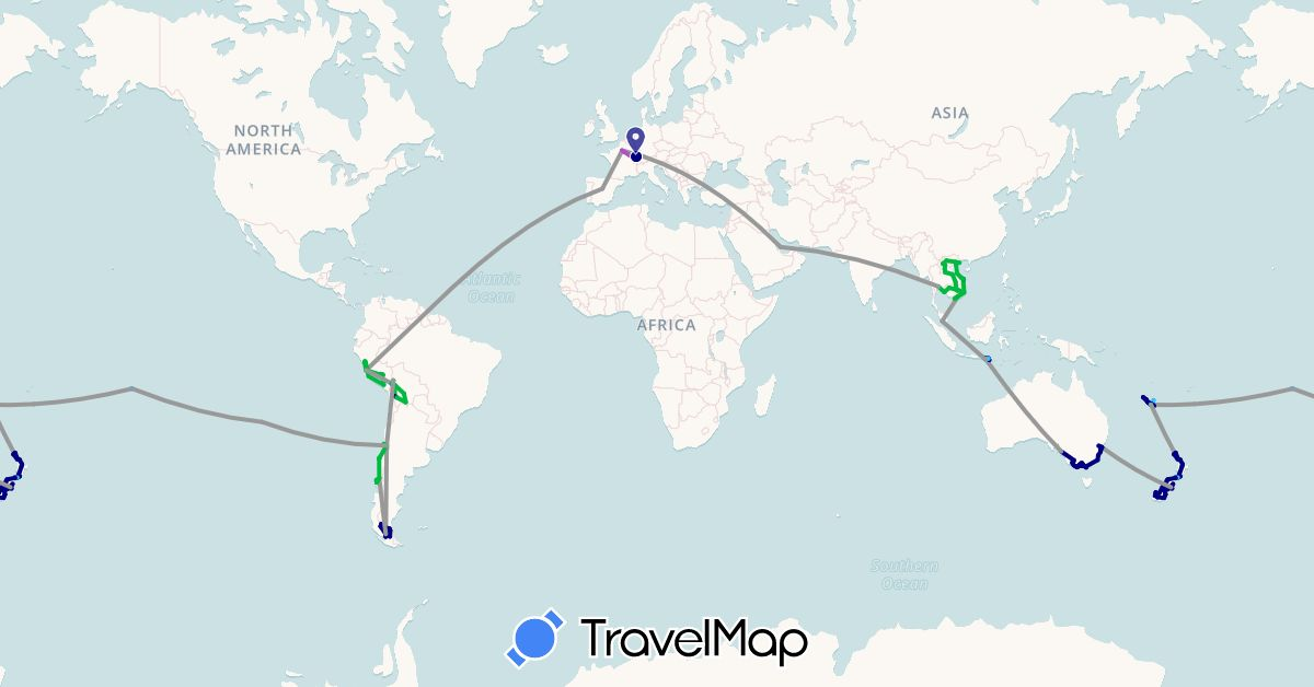 TravelMap itinerary: driving, bus, plane, train, boat in Australia, Bolivia, Chile, Spain, France, Indonesia, Cambodia, Laos, Malaysia, New Caledonia, New Zealand, Peru, French Polynesia, Qatar, Thailand, Vietnam (Asia, Europe, Oceania, South America)